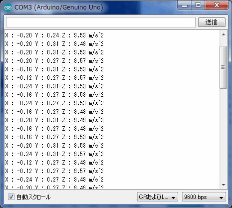 3軸加速度センサー(ADXL345)の使い方 - I2C版 [Arduino]
